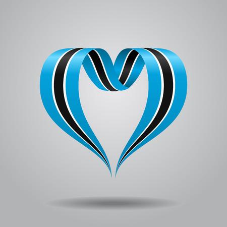 heartshaped: Botswana flag heart-shaped wavy ribbon. Vector illustration.