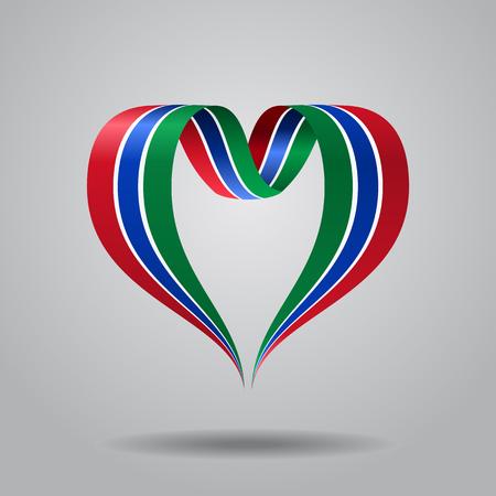 Gambian flag heart-shaped wavy ribbon. Vector illustration. Illustration