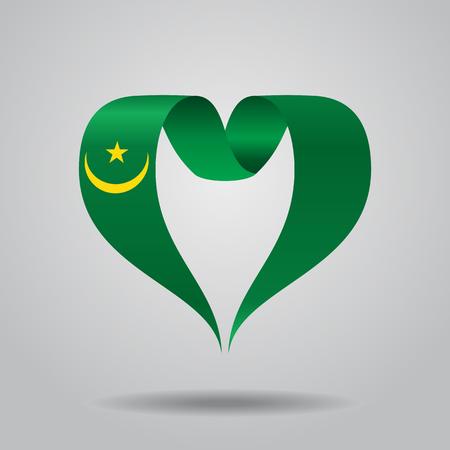 Mauritanian flag heart-shaped wavy ribbon, vector illustration. Illustration