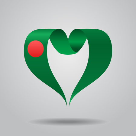 Bangladeshi flag heart-shaped wavy ribbon. Vector illustration.