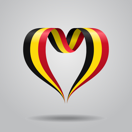 Belgian flag heart-shaped wavy ribbon. Vector illustration.