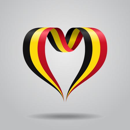 Ruban ondulé en forme de coeur de drapeau belge. Illustration vectorielle Vecteurs