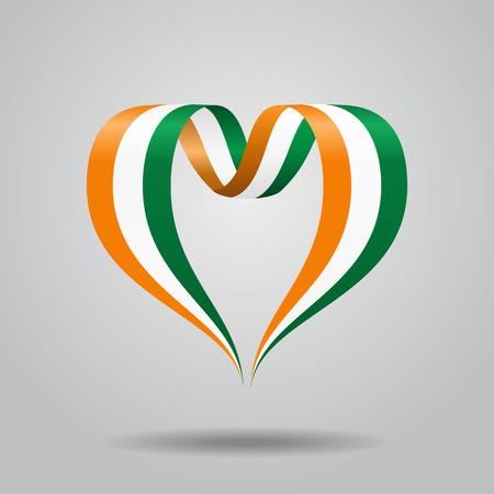 Ivorian flag heart-shaped wavy ribbon, vector illustration.