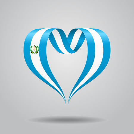 Guatemalan flag heart-shaped ribbon. Vector illustration. Çizim