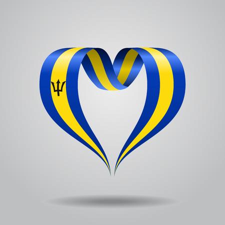 Barbados flag heart-shaped ribbon. Vector illustration.
