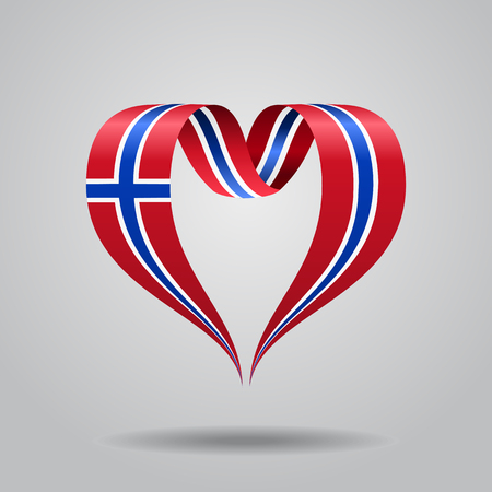 Norwegian flag heart-shaped ribbon. Vector illustration.