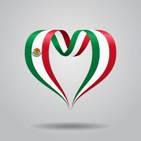 Mexican flag heart-shaped wavy ribbon. Vector illustration. Illustration