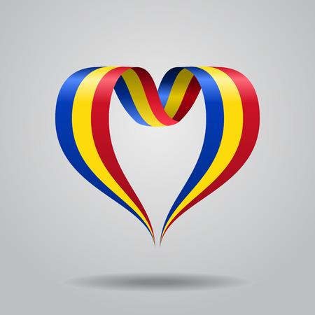 ルーマニア国旗ハート型波状リボン。ベクターイラスト。