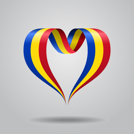 Romanian flag heart-shaped wavy ribbon. Vector illustration.