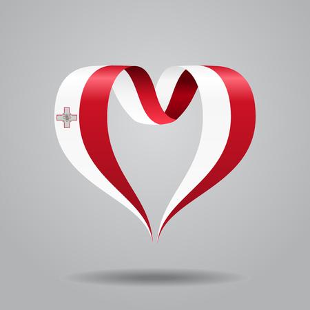 Maltese flag heart-shaped ribbon. Vector illustration.