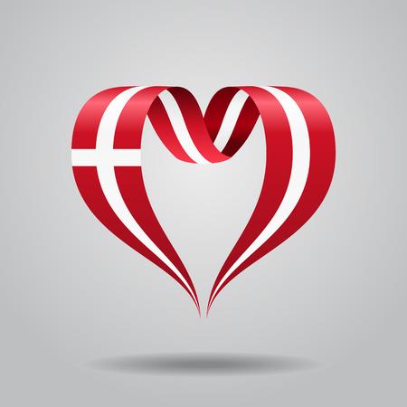 Danish flag heart-shaped ribbon. Vector illustration. Stock Photo