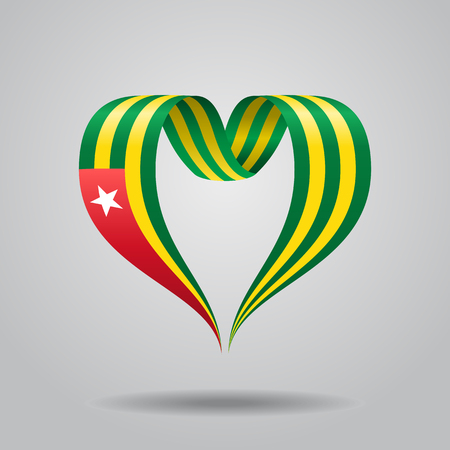heartshaped: Togolese flag heart-shaped wavy ribbon. Vector illustration. Illustration