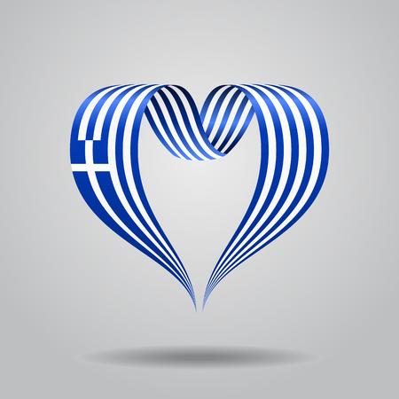 ギリシャ国旗ハート型リボン。ベクターイラスト。