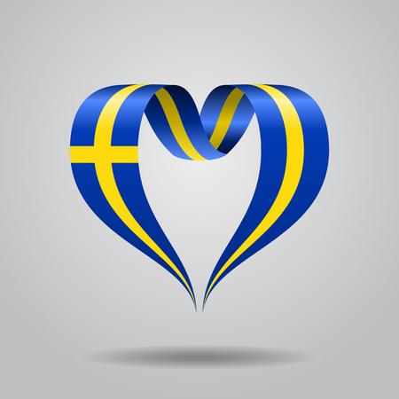 Swedish flag heart-shaped wavy ribbon. Vector illustration.