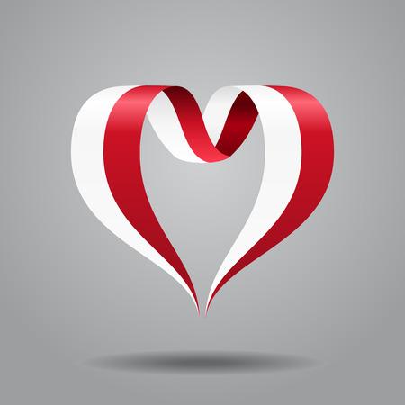 Polish flag heart-shaped wavy ribbon. Vector illustration. Illusztráció