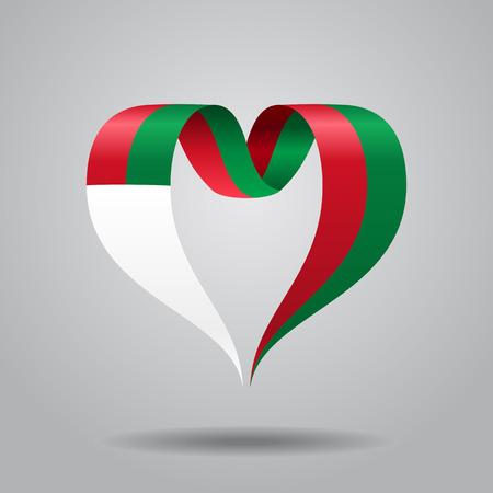 Madagascar flag heart-shaped wavy ribbon. Vector illustration.