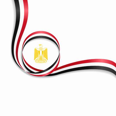 Egyptian flag wavy abstract background. Vector illustration.