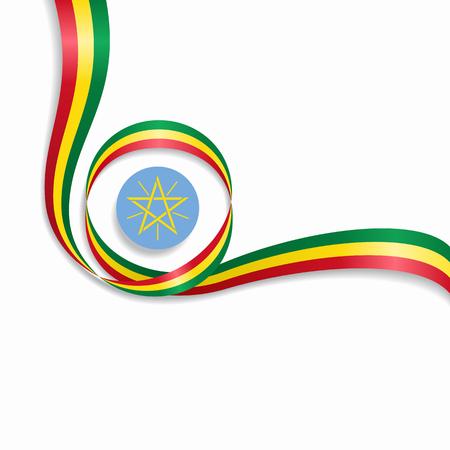 Ethiopian flag wavy abstract background vector illustration.