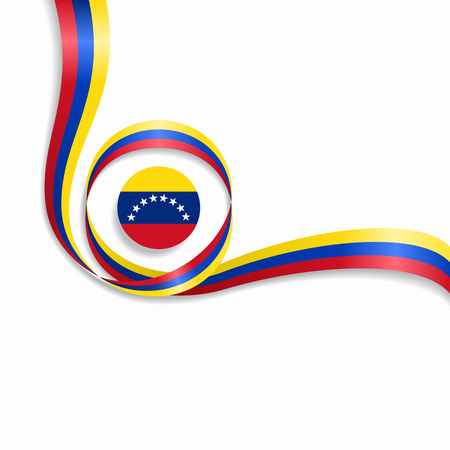 Venezuelan flag wavy abstract background. Vector illustration.