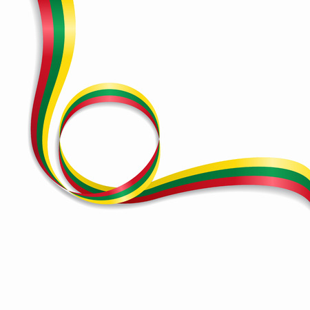 Lithuanian flag wavy abstract background. Vector illustration.