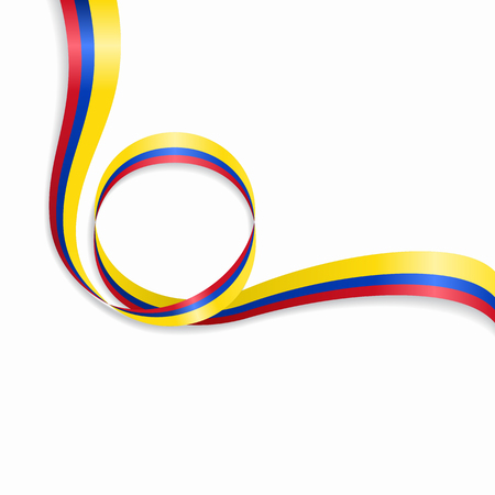 Colombian flag wavy abstract background. Vector illustration.  イラスト・ベクター素材