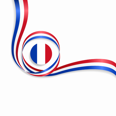 France flag wavy abstract background. Vector illustration.