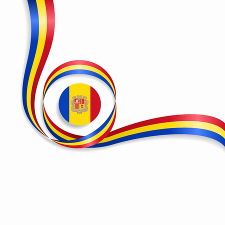 Andorran wavy flag background. Vector illustration.