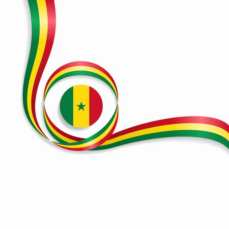 Senegalese wavy flag background. Vector illustration.