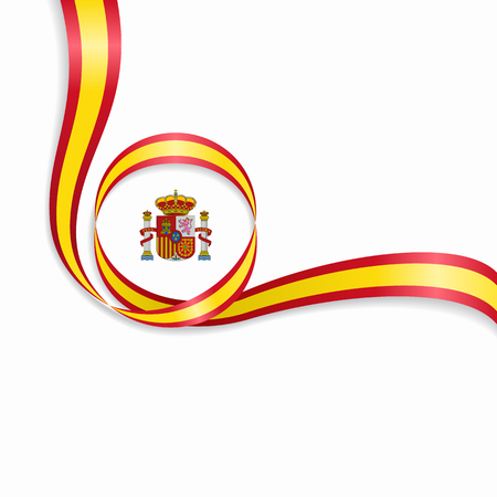 Spanish wavy flag background. Vector illustration.