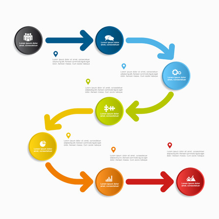Info-graphic template with 6 steps or options. Vector illustration.