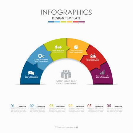 Infographik Vorlage. Vektor-illustration Wird für Workflow-Layout, Diagramm, Geschäftsschrittoptionen, Banner und Webdesign verwendet.