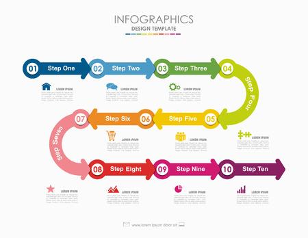 Modello di infografica. Illustrazione vettoriale Può essere utilizzato per il layout del flusso di lavoro, diagramma, opzioni di passaggio aziendale, banner, web design.