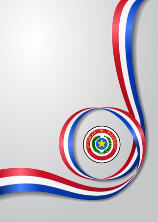 Paraguayan flag wavy background. Vector illustration.  イラスト・ベクター素材