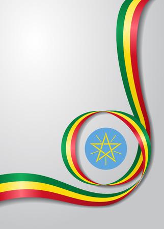 Ethiopische vlag golvende achtergrond. Vector illustratie
