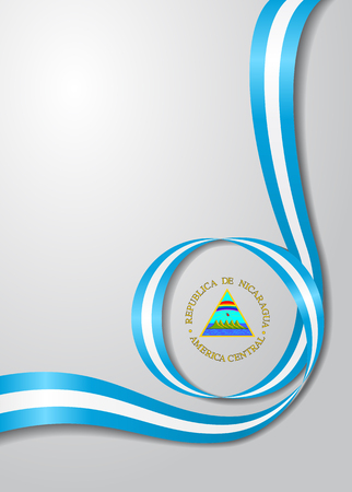 Nicaraguan flag wavy background. Vector illustration.
