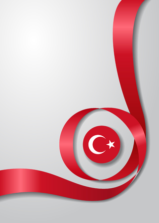 Turkish flag wavy background. Vector illustration.