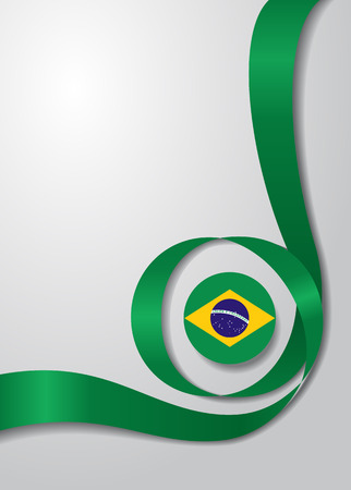 Brazilian flag wavy background. Vector illustration.