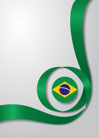 Brazilian flag wavy background. Vector illustration.