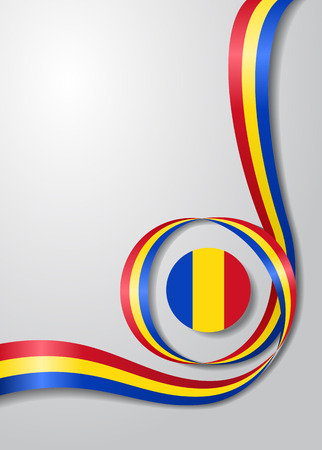 Romanian flag wavy abstract background Vector illustration. Stock Illustratie