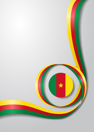 Cameroon flag wavy abstract background Vector illustration. Ilustração
