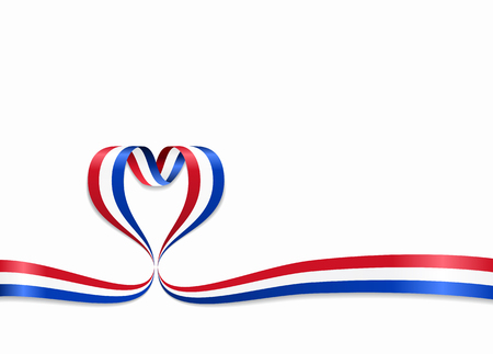 Dutch flag heart-shaped ribbon. Vector illustration. Çizim