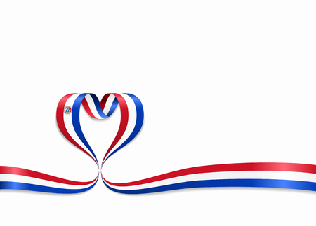 Paraguayan flag heart-shaped wavy ribbon. Vector illustration. Illustration