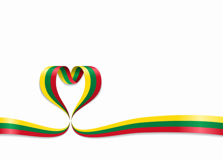 Lithuanian flag heart-shaped wavy ribbon. Vector illustration.