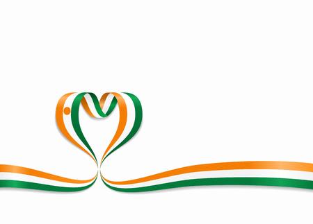 Niger flag heart-shaped wavy ribbon. Vector illustration. Illusztráció