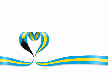 Bahamas flag heart-shaped wavy ribbon. Vector illustration.