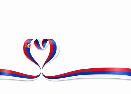 Serbian flag heart-shaped wavy ribbon. Vector illustration.