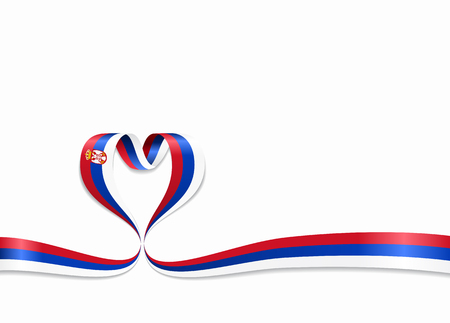 Serbian flag heart-shaped wavy ribbon. Vector illustration.