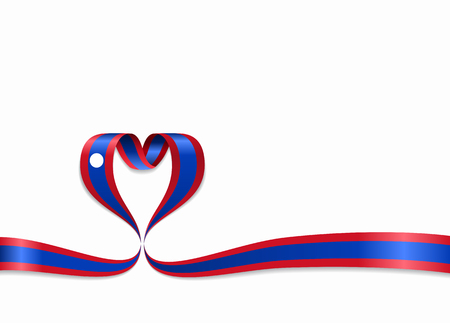 Laos flag heart-shaped wavy ribbon. Vector illustration.