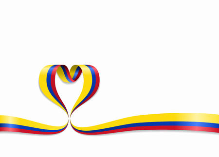 Colombian flag heart-shaped wavy ribbon. Vector illustration.