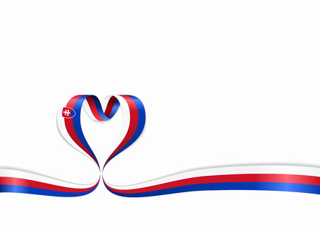 Slovak flag heart-shaped wavy ribbon. Vector illustration.